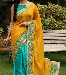 Buy Yellow embroidered georgette saree with blouse designer-embroidered-saree online
