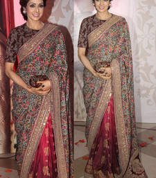 Buy Multicolor embroidered georgette saree with blouse sridevi-saree online