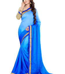 Buy Blue printed chiffon saree with blouse cotton-saree online