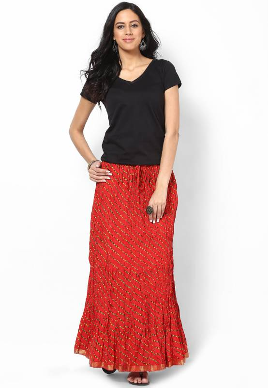 Buy Ethnic Red Cotton Printed Skirt Online