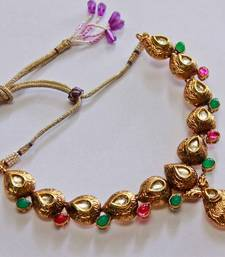 Buy Multi Color Teardrop Kundan Stone Necklace Set  necklace-set online