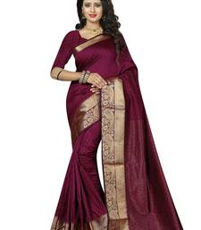 Buy Wine woven cotton saree with blouse cotton-saree online