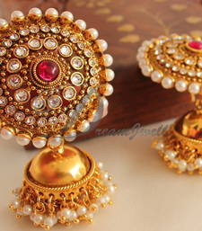 Buy Gorgeous goldplated huge maroonjhumkkas jhumka online