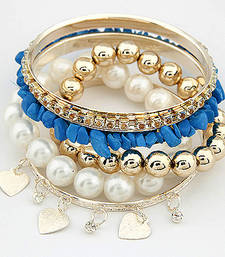 Buy Blue Stone Pearl Bracelet Set(CFB0049) bangles-and-bracelet online