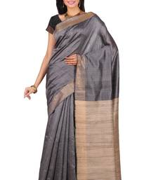 Buy Steel grey hand woven dupion silk saree with blouse dupion-saree online