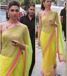 Buy Deepika Padukone in Lemon Sari  deepika-padukone-saree online