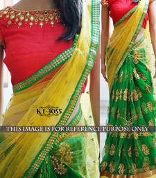 Buy Multicolor embroidered net saree with blouse net-saree online