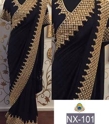 Buy Black embroidered georgette saree with blouse south-indian-saree online