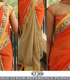 Buy Orange embroidered georgette saree with blouse heavy-work-saree online