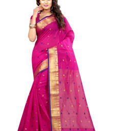 Buy Rani pink plain cotton silk saree with blouse wedding-saree online