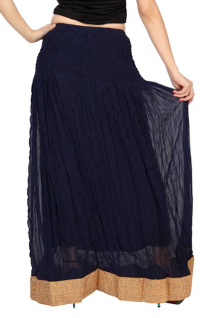 buy navy blue chiffon plain free size skirts