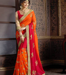 Buy Orange and red embroidered georgette saree with blouse wedding-saree online