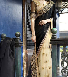 Buy Black and cream embroidered georgette and net saree with blouse wedding-saree online