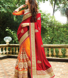 Buy Red and orange embroidered georgette and nylon net saree with blouse wedding-saree online