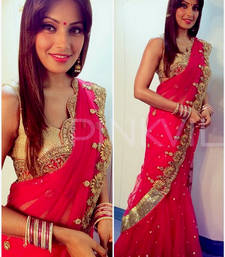 Buy Red embroidered georgette saree with blouse bipasha-basu-saree online