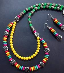 Buy Multi_Color_Tyres_Yellow_Green_Silver_Set Necklace online
