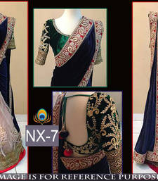 Buy Multicolor embroidered velvet saree with blouse lehenga-saree online