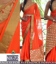 Buy Orange embroidered georgette saree with blouse south-indian-saree online