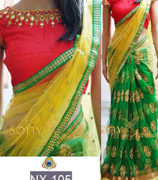 Buy Multicolor embroidered nylon saree with blouse south-indian-saree online
