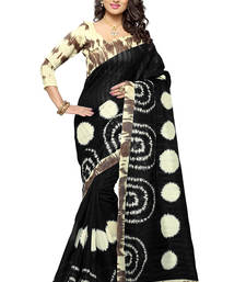Buy Black printed bhagalpuri silk saree with blouse bhagalpuri-silk-saree online
