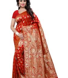 Buy Red woven banarasi silk saree with blouse banarasi-saree online