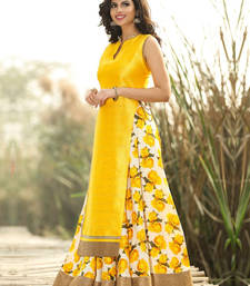 Buy Yellow printed bhagalpuri silk unstitched salwar with dupatta dress-material online