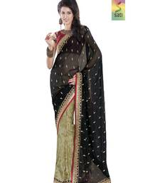 Buy SATI Half-Half Black Embroidered Saree chiffon-saree online