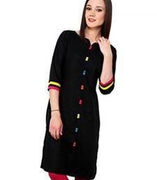 Buy Black plain cotton kurtas-and-kurtis long-kurti online