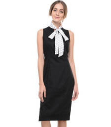 Buy Women's Designer Black Cotton Lycra Dress With Printed Bow Tie Collar dress online