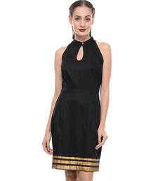 Buy Women's Designer Black Lycra Dress With Printed Hem dress online
