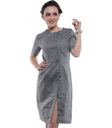 Buy Women's Designer Grey South Cotton Dress With Asymetrical Buttoning dress online