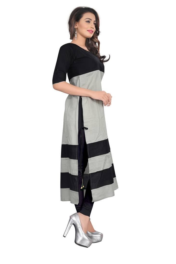 Buy Grey Plain Cotton Stitched Kurti Online