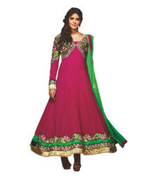 Buy Hypnotex Pink Georgette Dress Material Flower16 dress-material online