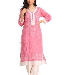 Buy Pink embroidered cotton kurtas-and-kurtis chikankari-kurti online