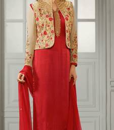 Buy Red embroidered crepe semi stitched salwar with dupatta semi-stitched-salwar-suit online