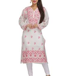 Buy White embroidered cotton kurtas-and-kurtis chikankari-kurti online