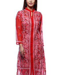 Buy Red embroidered georgette kurtas-and-kurtis chikankari-kurti online