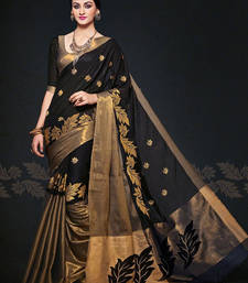 Buy Black woven cotton poly saree with blouse party-wear-saree online