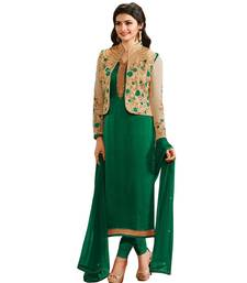 Buy green embroidered georgette semi stitched salwar with dupatta pakistani-salwar-kameez online