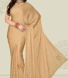 Buy Weeding Beige Color Satin Chiffon Party Wear Saree with Blouse chiffon-saree online