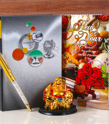 Buy Laughing buddha with dairy book and pen for new year gifting new-year-gift online