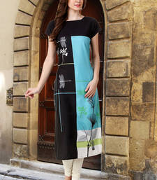 Buy Women Black Crepe Digital Printed Casual Kurti long-kurti online