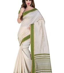 Buy off white  and  mahendi printed cotton saree with blouse cotton-saree online