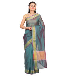 Buy Teal woven tissue saree with blouse tissue-saree online
