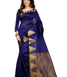 Buy Blue embroidery banarasi silk saree with blouse banarasi-silk-saree online