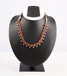 Buy Red Oval Stone Studded Necklace necklace-set online