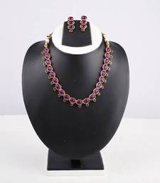 Buy Purple Oval Stone Studded Necklace necklace-set online
