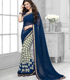 Buy blue and cream printed georgette saree with blouse georgette-saree online