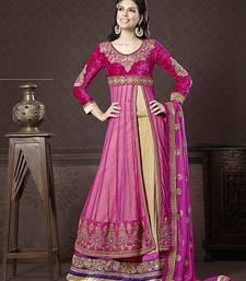 Buy Pretty beige art silk long choli lehenga eid-sarees-dress online