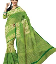 Buy Aria Green cotton printed summer collection saree ks354 cotton-saree online